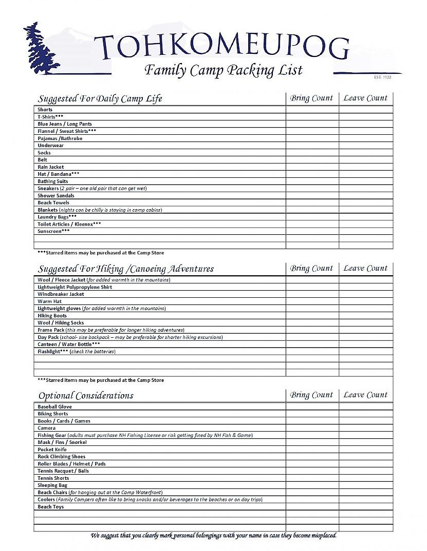 Camp Tohkomeupog Packing List